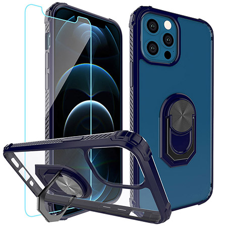 Picture of Slim Ringstand Case for iPhone 12/12 Pro w/Glass Screen Guard, Blue & Clear