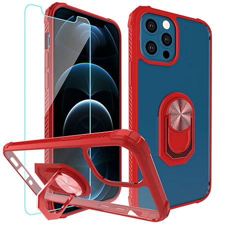 Picture of Slim Ringstand Case for iPhone 12/12 Pro w/Glass Screen Guard, Red & Clear