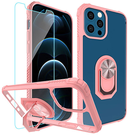 Picture of Slim Ringstand Case for iPhone 12/12 Pro w/Glass Screen Guard, Soft Pink & Clear