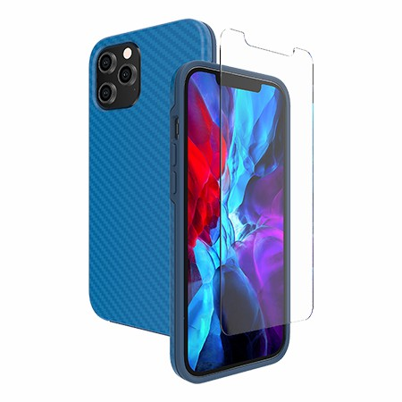 Picture of Supreme Case for iPhone 12 Pro Max w/Glass Screen Guard, Blue Carbon Fiber