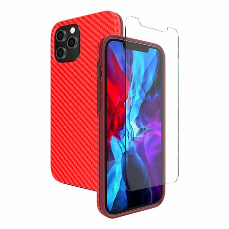 Picture of Supreme Case for iPhone 12 Pro Max w/Glass Screen Guard, Red Carbon Fiber