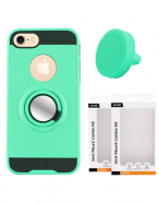 Picture of AMPD Metallic Ring Stand Case & Vent Mount Magnet Combo Kit for LG Stylo 4, Teal